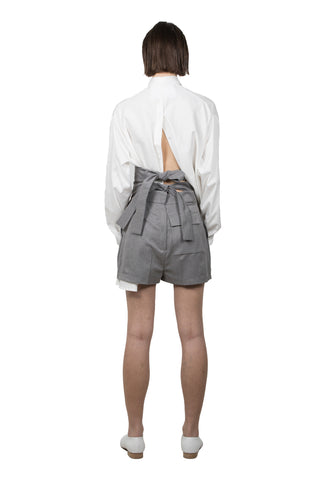 Grey Cotton Kinbaku Shorts - Ludus Agender Label