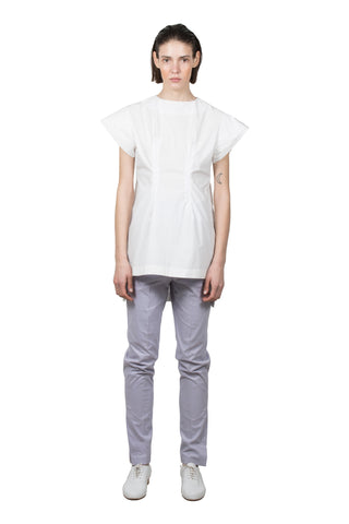 White Cotton Slashed T-shirt - Ludus Agender Label