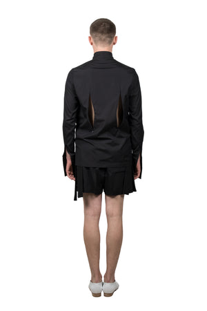 Black Slashed Long-sleeved Shirt - Ludus Agender Label