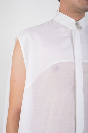 White silk blend shirt