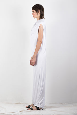 White draped jersey dress