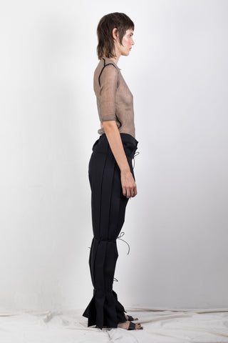 Zero waste pleated twill trousers