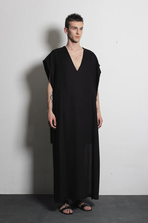 V-neck Black Flax Dress