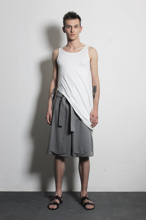 Gray Cotton Shorts - Ludus Agender Label
