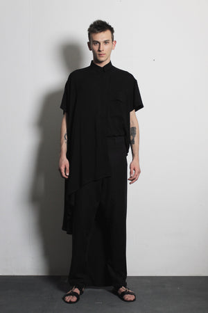 Asymmetric Black Flax Trousers