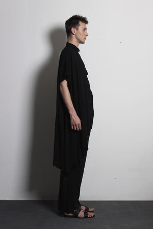 Asymmetric Black Cotton Shirt - Ludus Agender Label