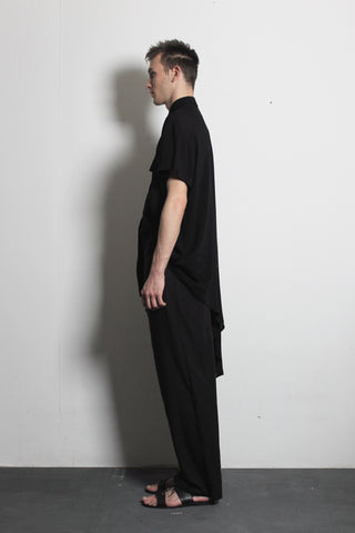 Asymmetric Black Cotton Shirt