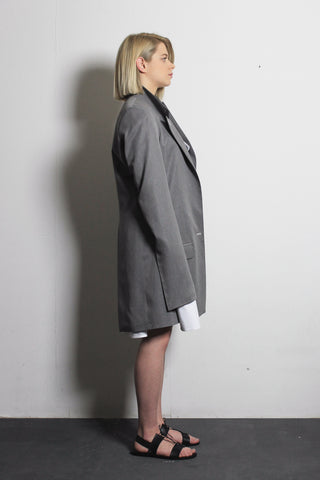 Asymmetric Grey Cotton Jacket