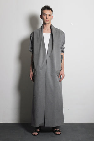 Grey Cotton Overcoat