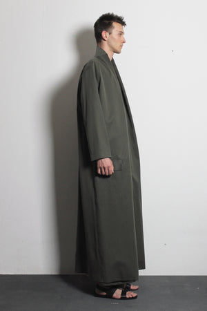 Olive Cotton Overcoat
