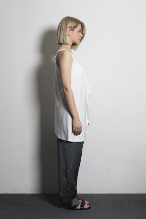 White Asymmetric T-shirt - Ludus Agender Label