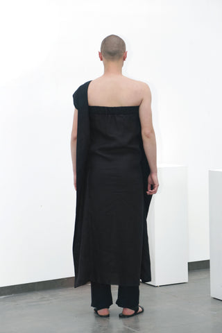Black flax dress - Ludus Agender Label