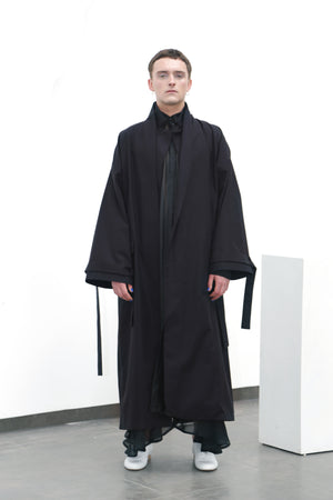Black cotton coat (M) - Ludus Agender Label