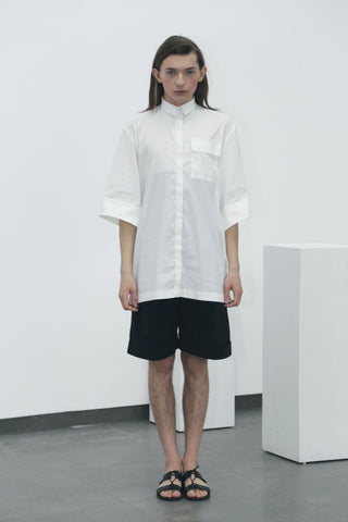 White wide-sleeved shirt - Ludus Agender Label