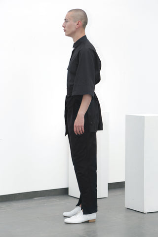 Black cotton belted trousers