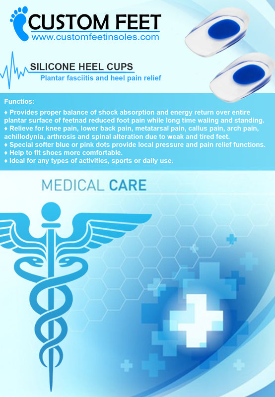Silicone Heel Cups - Plantar Fasciitis and Heel Pain Relief