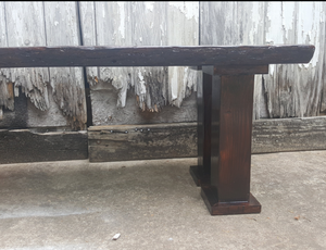 """Live Edges"" SOLID TOP OAK BENCH - UNIQUE CUT, LIVE EDGE.  APPROX. 51""L X 16""W X 18""H - Local Materials Used"