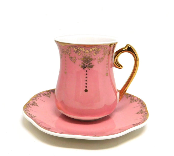 ~Turkish Coffee Cups & Saucers - Pink & Gold - 6 Pcs Set~ {طقم فناجين قهوة تركي بورسلان - زهري مذهب - 6 قطع}