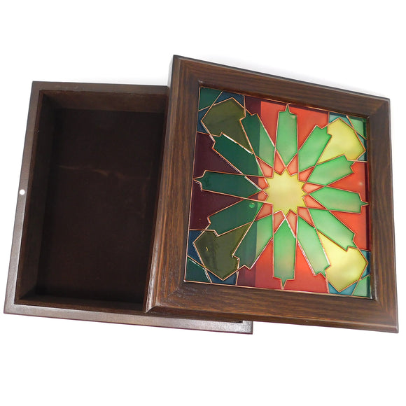 ~Wooden Box w/ Stained Glass Top~  {صندوق خشب وزجاج مزخرف}