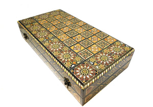 ~Premium Mosaic & Mother Of Pearl Backgammon Set with Carry Case ~ {طاولة زهر موزاييك وخشب جوز مطعم بالصدف }