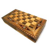 ~Mosaic & Mother Of Pearl Backgammon & Checkers Set with Carry Case~ {طاولة زهر موزاييك مطعم بالصدف}