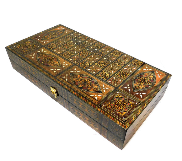 ~Premium Mosaic & Mother Of Pearl Backgammon Set with Carry Case (Dark)~ {طاولة زهر موزاييك وخشب جوز مطعم بالصدف (لون داكن)}