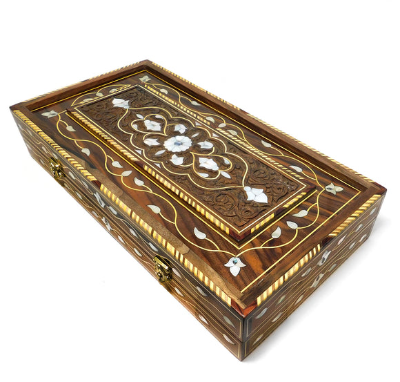 ~Luxury Mosaic & Mother Of Pearl Backgammon Set with Carry Case~ {طاولة زهر موزاييك وخشب جوز مطعم بالصدف}
