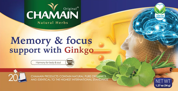 ~Chamain Memory & Focus Support (Ginkgo Biloba) 20 Bag~ {شامين منشطة للذاكرة 20 ظرف}
