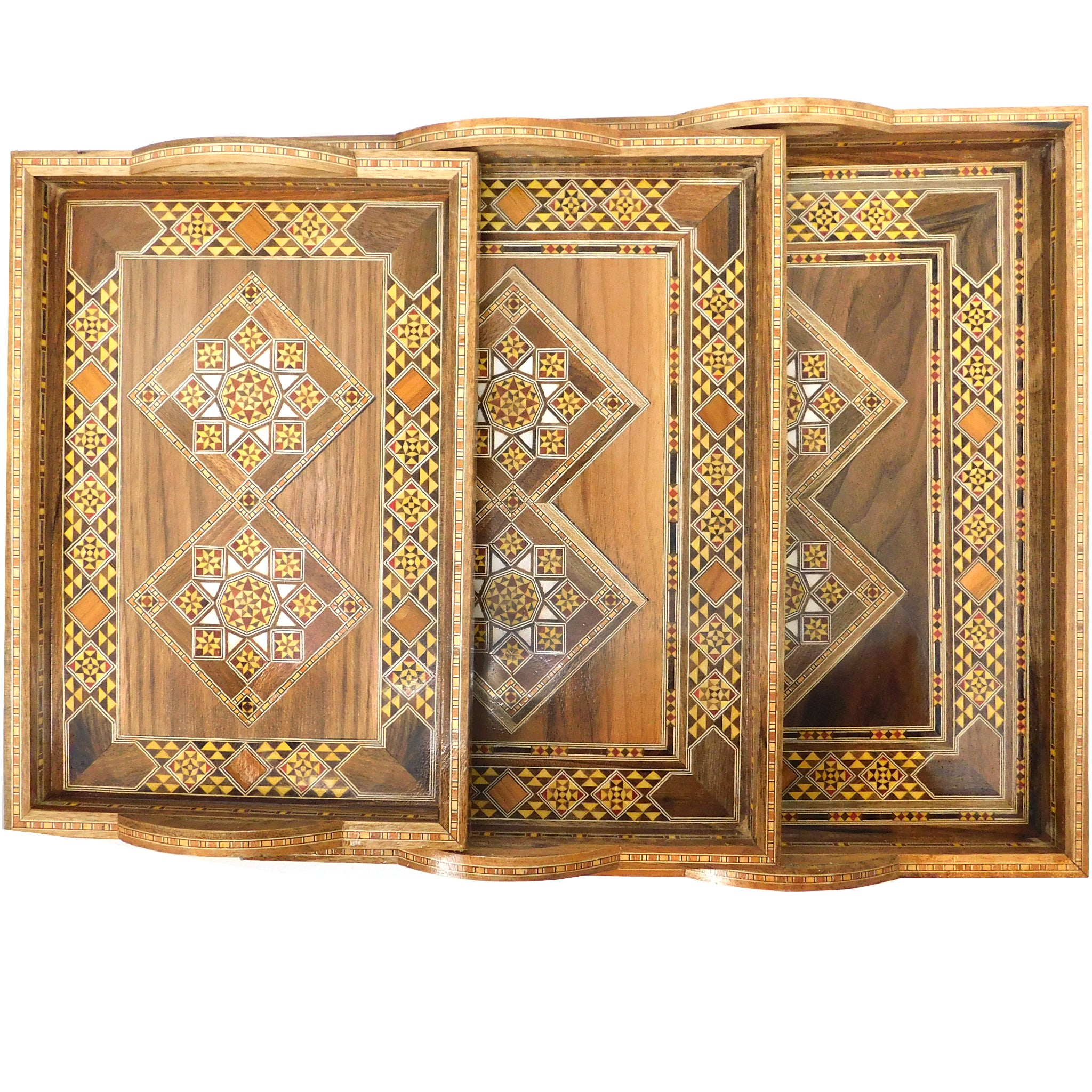 Wooden Mosaic Mother Of Pearl Serving Trays Set Of 3 طقم صواني Zaman Market
