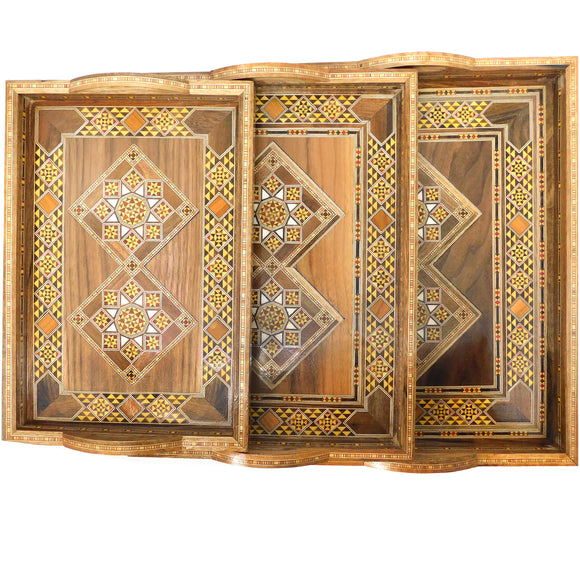 ~Wooden Mosaic & Mother Of Pearl Serving Trays - Set of 3~ {طقم صواني خشب موزاييك مصدف 3 قطع}