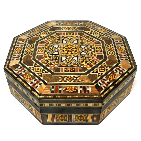~Octagonal Mosaic & Mother Of Pearl Box - Large~ {صندوق موزاييك مصدف مثمن كبير}