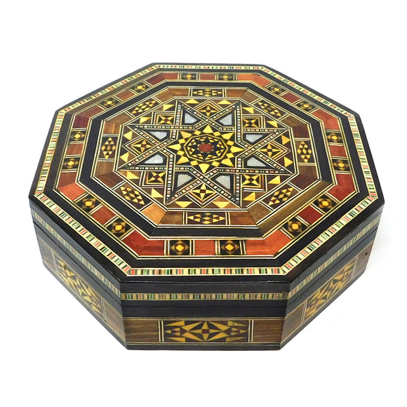 ~Octagonal Mosaic & Mother Of Pearl Box - Medium~ {صندوق موزاييك مصدف مثمن وسط}