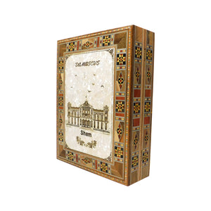 "~Mosaic & Mother Of Pearl Box Engraved ""Damascus"" - Medium~ {صندوق موزاييك مصدف محفور برسم دمشقي - وسط}"