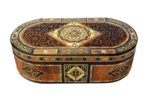 ~Oval Carved Wood, Mosaic & Mother Of Pearl Box~ {صندوق بيضوي حفر خشب وموزاييك مصدف}