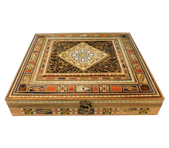 ~Square Carved Wood, Mosaic & Mother Of Pearl Box~ {صندوق مربع حفر خشب وموزاييك مصدف}