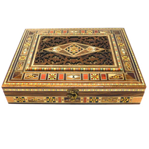 ~Rectangular Carved Wood, Mosaic & Mother Of Pearl Box~ {صندوق مستطيل حفر خشب وموزاييك مصدف}