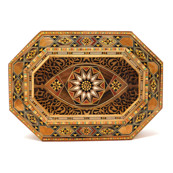 ~Oblong Carved Wood, Mosaic & Mother Of Pearl Box~ {صندوق طولاني حفر خشب وموزاييك مصدف}