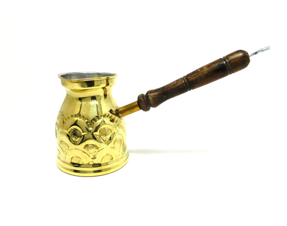 ~Hand-Hammered Brass Turkish Coffee Pot w/ Wooden Handle~ {ركوة قهوة نحاس مقبض خشب}