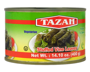 ~Tazah Stuffed Grape Leaves 14oz ~ {ورق عنب/دوالي محشي جاهز للأكل (يالنجي) 400غ}