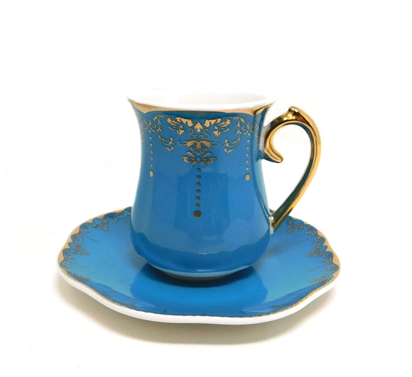 ~Turkish Coffee Cups & Saucers - Blue & Gold - 6 Pcs Set~ {طقم فناجين قهوة تركي بورسلان - أزرق مذهب - 6 قطع}