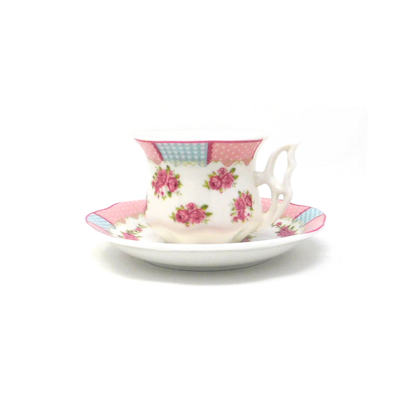 ~Turkish Coffee Cups & Saucers - Rose Pink - 6 Pcs Set~ {طقم فناجين قهوة تركي - زهري مورد - 6 قطع}