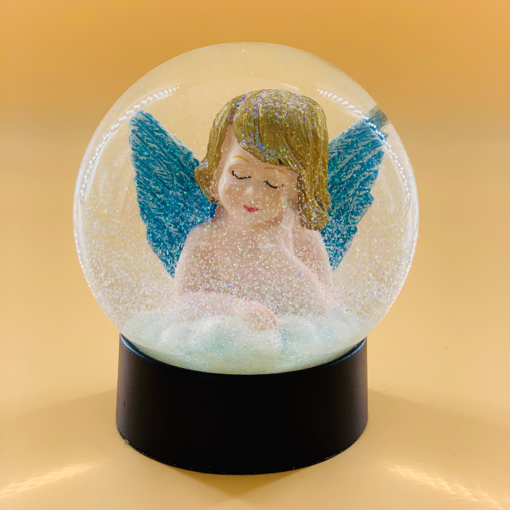 GLANSBILLED ENGEL BLÅ VINGER / BLUE ANGEL SNOW GLOBE