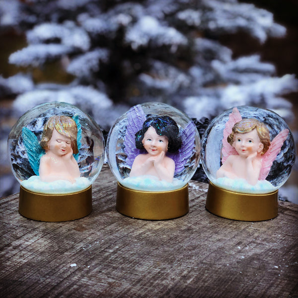 GLANSBILLED ENGEL LILLA VINGER / PURPLE ANGEL SNOW GLOBE
