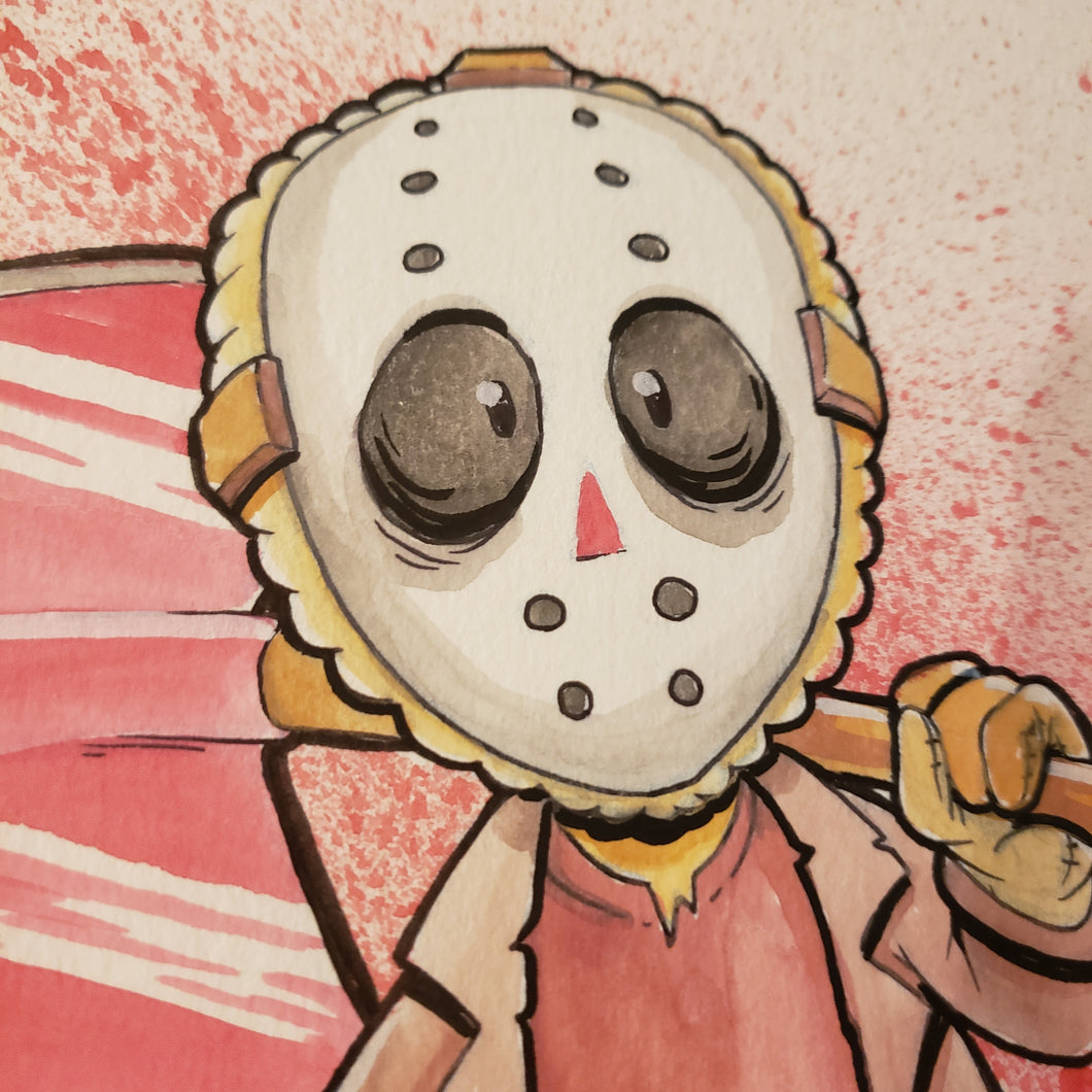 FRIDAY THE 13TH 7 in. X 11 in. WATERCOLOR