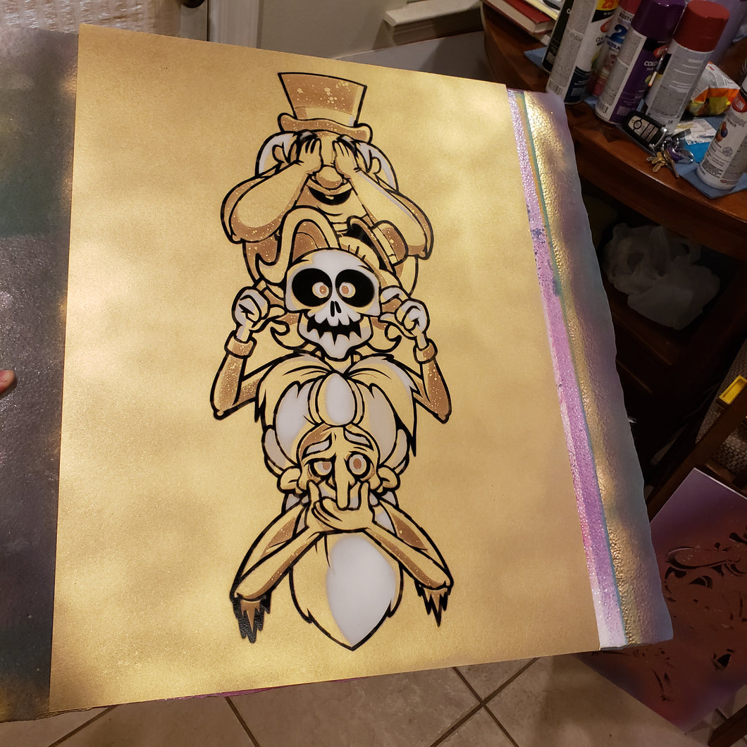 Hitchhiking Ghost . No evil. LRG 01 Gold painting