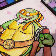 Load image into Gallery viewer, TMNT Michelangelo 9 in. X 12 in. WATERCOLOR painting