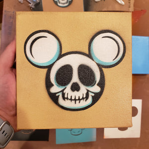 "SKULL MICKEY Head - 6 "" x 6"" in CANVAS"