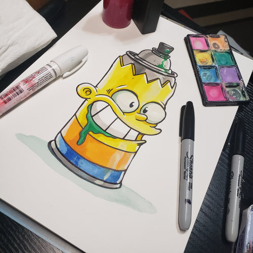 Spray Paint Bart 9 in. X 12 in. WATERCOLOR painting