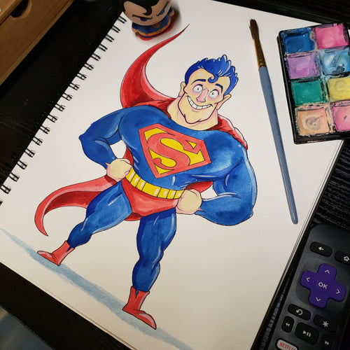 SUPERMAN STANDING 9 in. X 12 in. WATERCOLOR painting