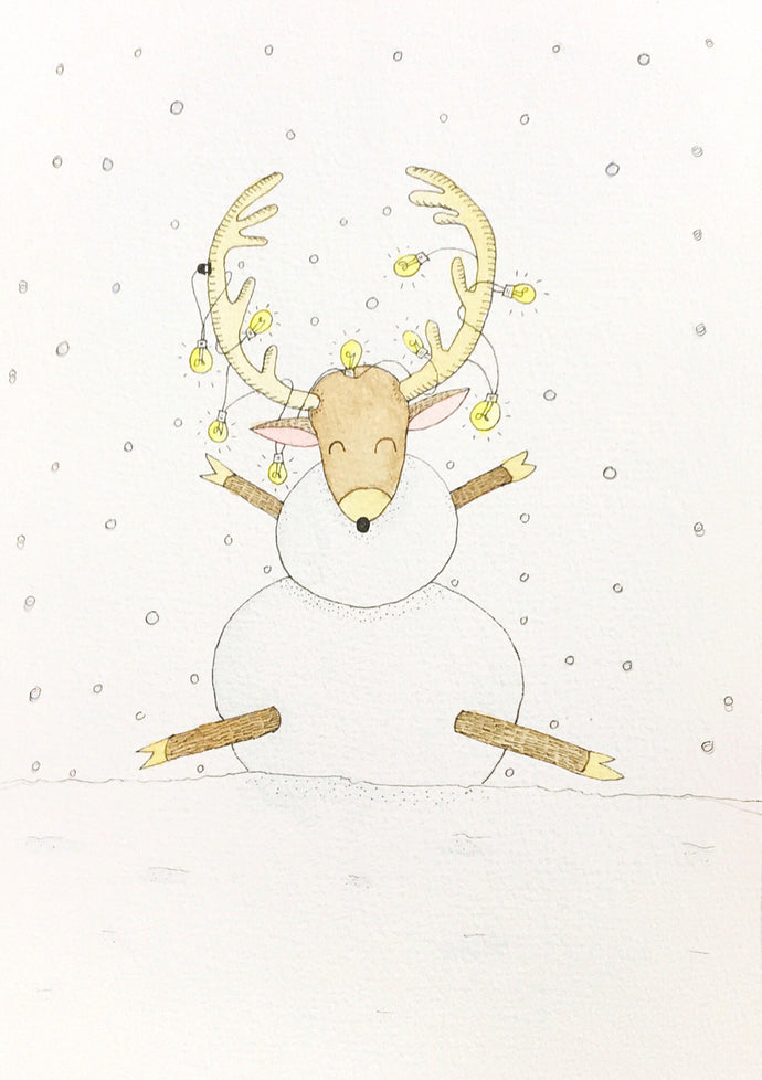Deer:Snow:Retro by Lapin Mignon